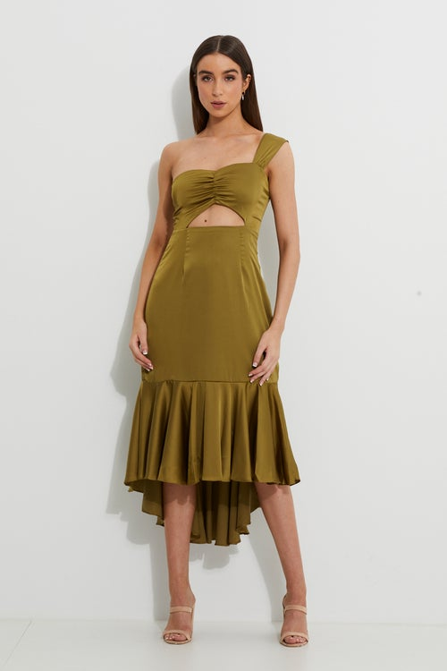 Designer Twist Front Asymmetric Satin Dress