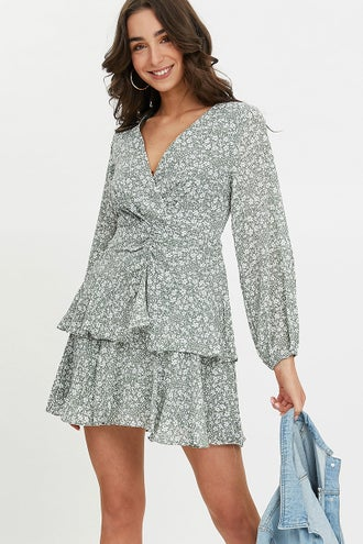 Ditsy Floral Asymmetric Wrap Skirt Dress