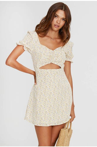 DITSY FLORAL CUT OUT A-LINE DRESS