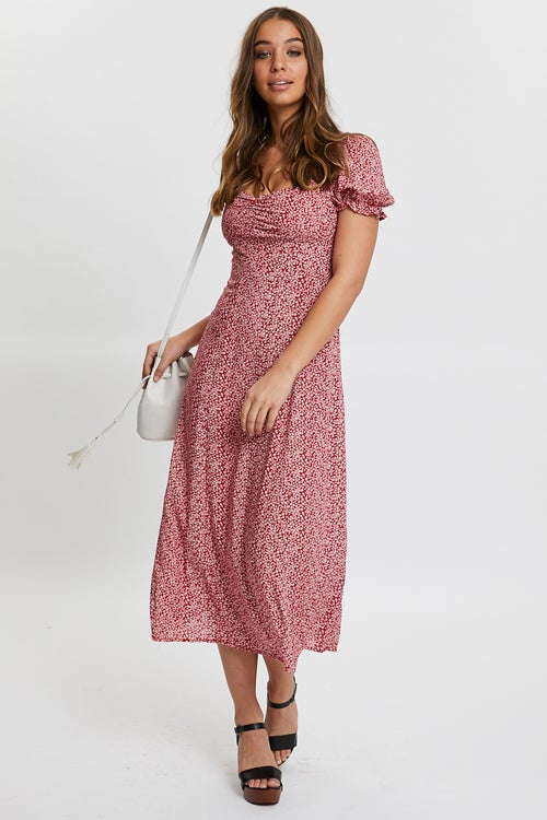 Ditsy Floral Front Split Midi Dress