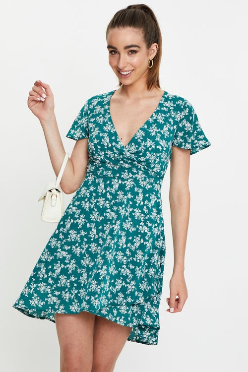 Ditsy Floral Print Wrap Dress