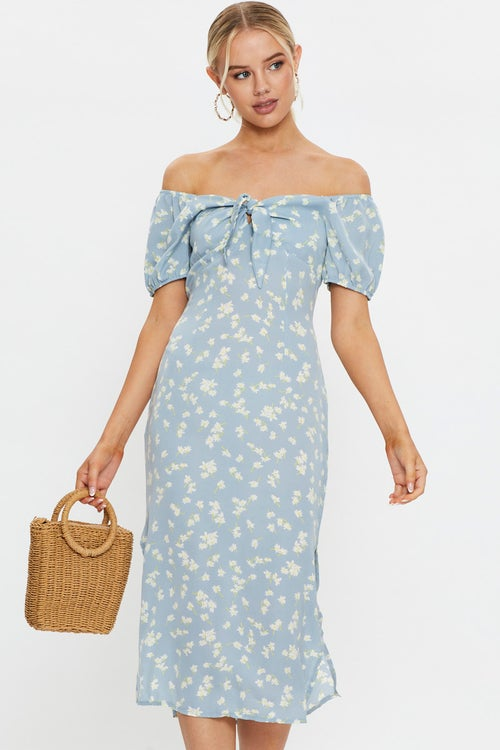 Ditsy Floral Puff Sleeve Tie Front Midi Dress