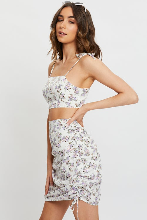 Ditzy Floral Ruched Drawstring Skirt Co-ord
