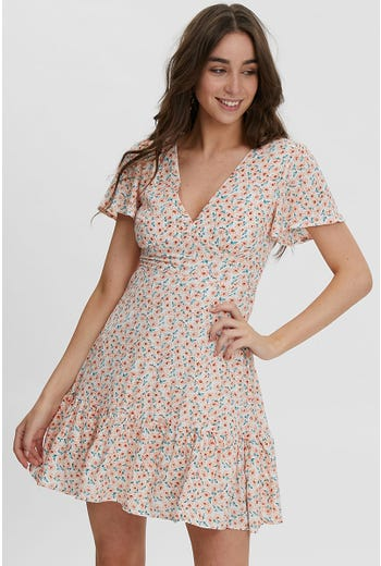 DITZY PRINT SKATER RUFFLE DRESS
