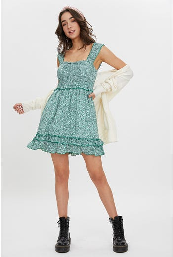 DITZY SHIRRED DRESS