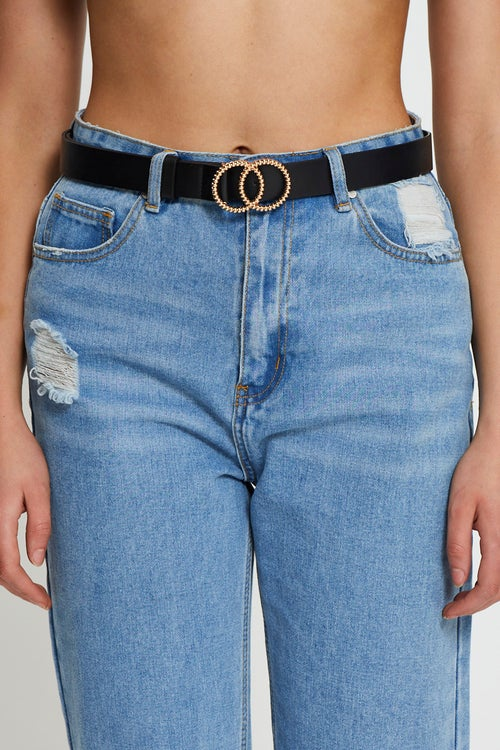 Double Circle Intricate Buckle Belt