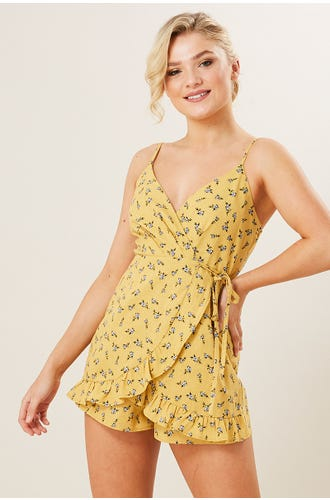 DITZY WRAP PLAYSUIT
