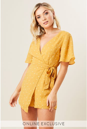 POLKA DOT WRAP PLAYSUIT