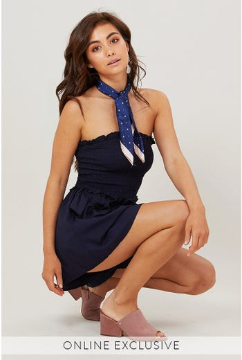 STRAPLESS PLAYSUIT WITH FRILL DETAIL