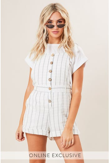 BUTTON FRONT STRIPE DUNGAREE
