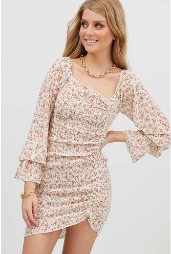 DRAW STRING RUCHED MINI FLORAL DRESS