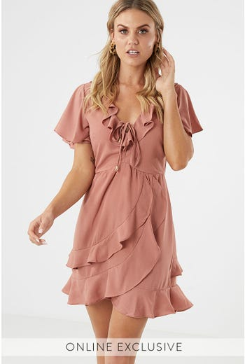 DOUBLE RUFFLE SKATER DRESS