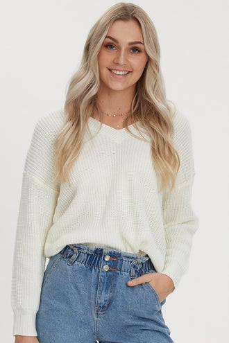 DROP SHOULDER V NECK OVERSIZED SWEATER