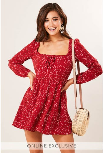 SCOOP NECK SPOT DRESS
