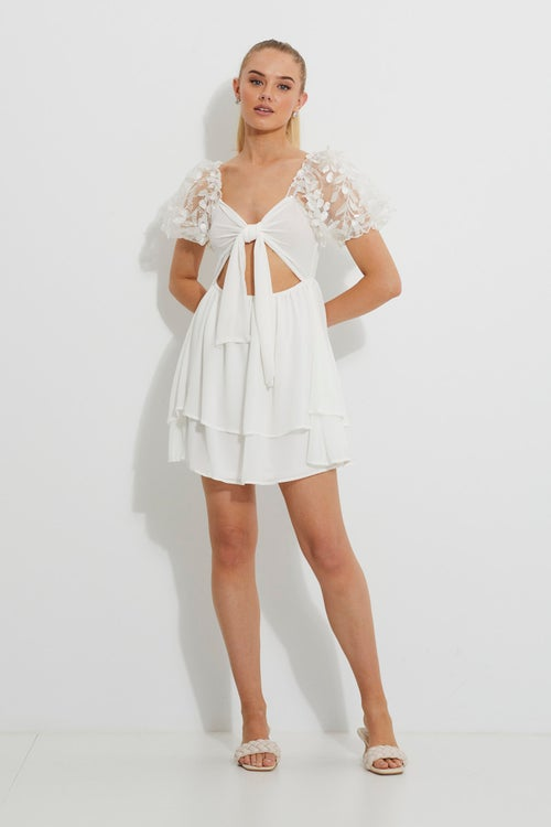 Embroidered Puff Sleeve Tiered Dress