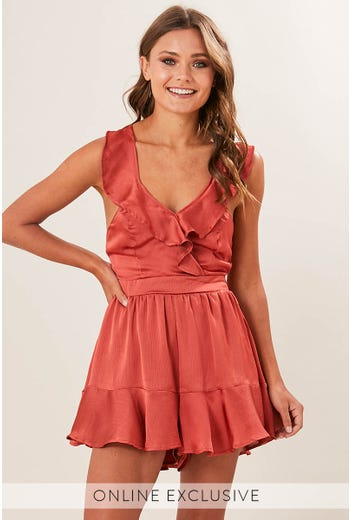 FRILL DETAIL STRAPPY PLAYSUIT