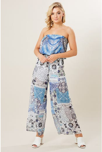 JEWELED PLACEMENT PRINT JUMPSUIT