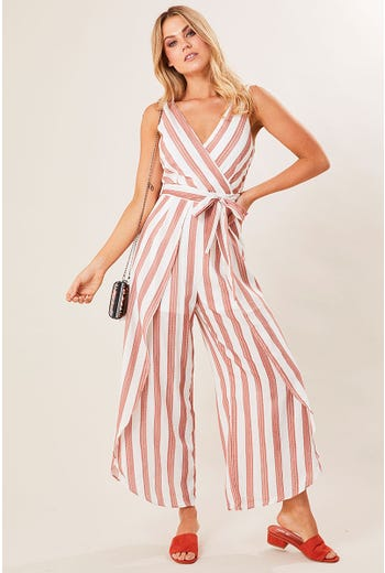 STRIPE WRAP PANT JUMPSUIT