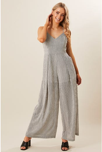 STRIPE PLEAT PANT JUMPSUIT