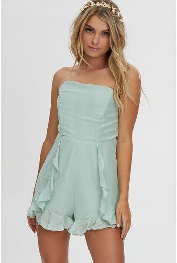 FRILL WRAP SHORT PLAYSUIT