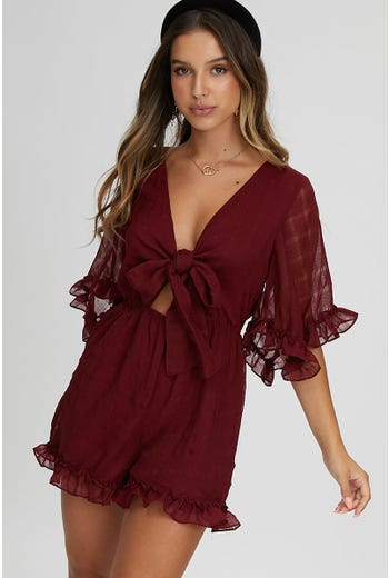 SELF CHECK BELL SLEEVE PLAYSUIT