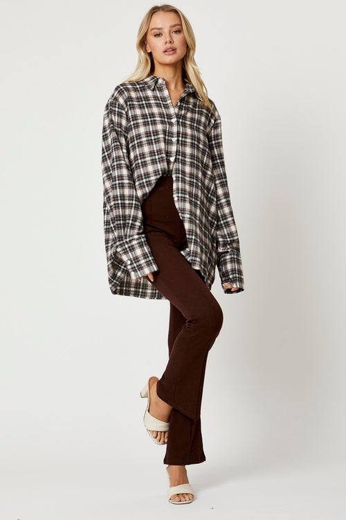 Extra Long Sleeve Loose Fit Check Shirts
