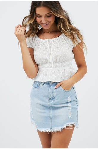 EYELET BARDOT TOP