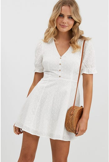 EYELET BUTTON FRONT DRESS