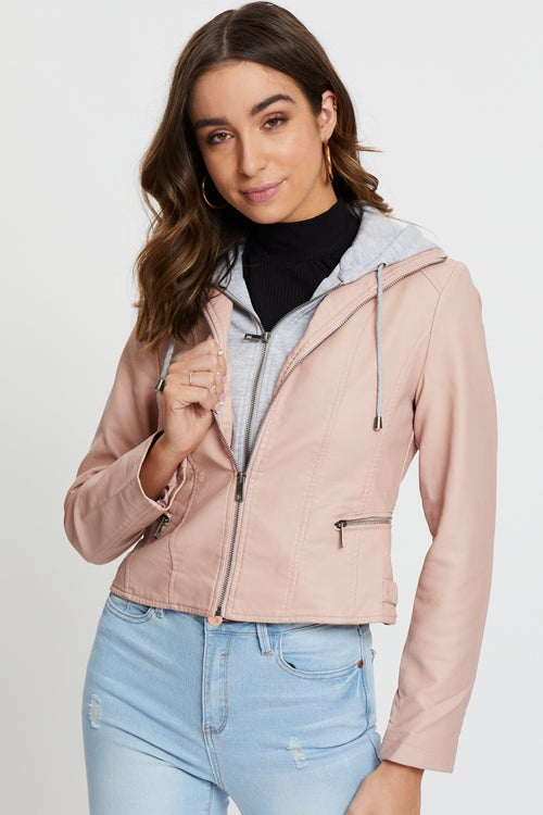 Faux Leather Jacket With Hoody