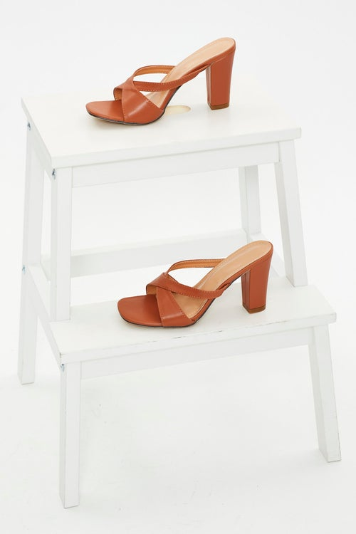 Faux Leather Cross Over Mules