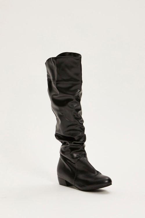Faux Leather Flat Slouch Boots