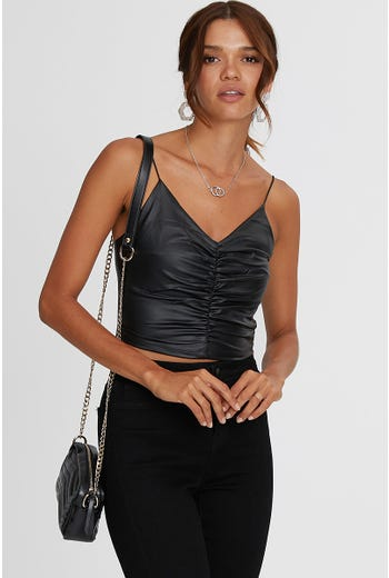FAUX LEATHER RUCHE FRONT CAMI
