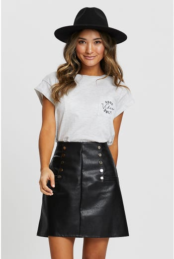 Faux Leather Stud Skirt