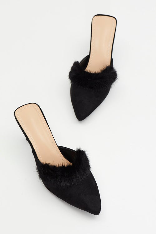 Feather Trim Pointed Mules