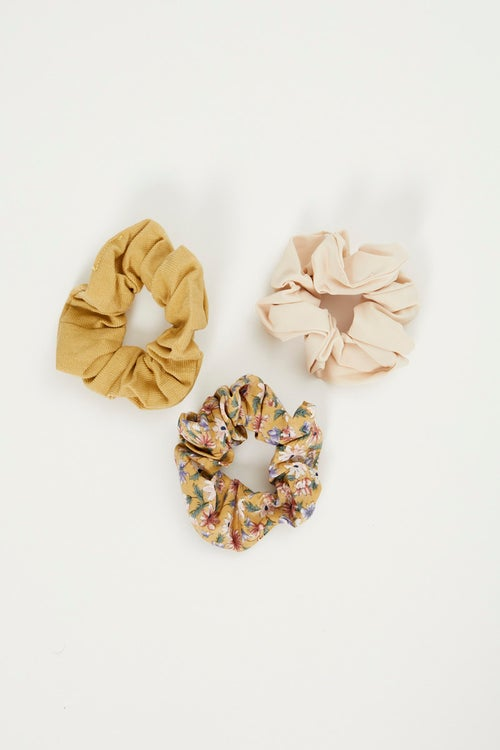 Floral And Cord 3 pack  Scrunchies