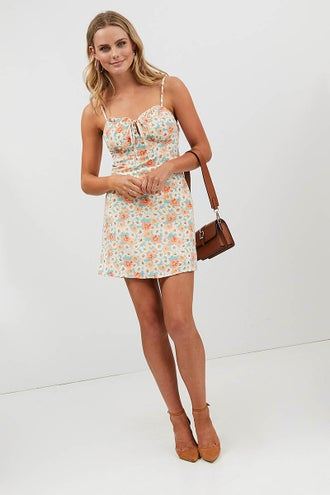 FLORAL BUST DETAIL MINI DRESS