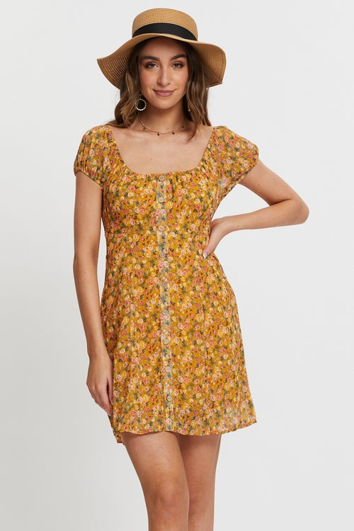 FLORAL BUTTON FRONT PUFF  SLEEVE DRESS