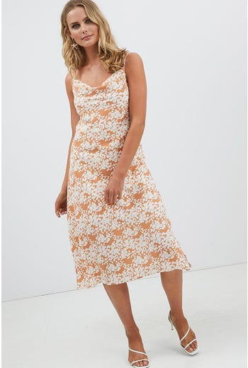 FLORAL COWL NECK DRESS