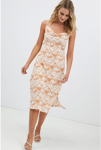 FLORAL COWL NECK SLIP DRESS