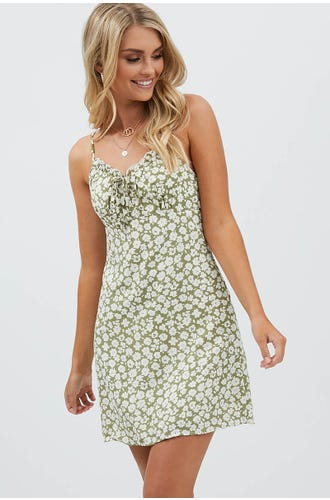FLORAL FRILL BUST A-LINE MINI DRESS