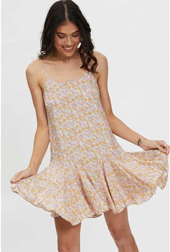 FLORAL FRILL HEM MINI DRESS