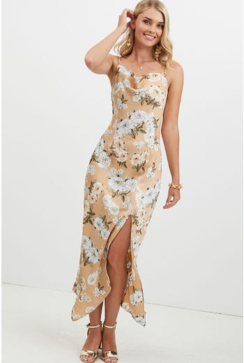FLORAL FRONT SPLIT COWL NECK SATIN DRESS