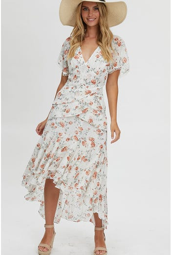 FLORAL PLEAT MIDI DRESS