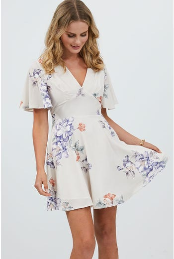 FLORAL PRINT ANGEL SLEEVE SKATER DRESS