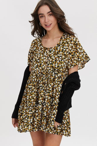 FLORAL PRINT BUTTON FRONT SWING DRESS