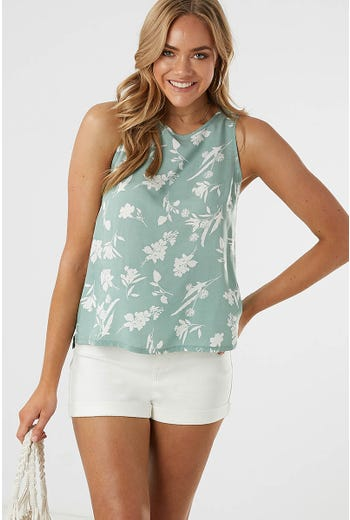 FLORAL PRINT HIGH LOW PRINTED TANK