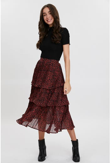 FLORAL PRINT LAYERED SKATER MIDI SKIRT