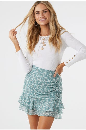 FLORAL PRINT RUCHED SKIRT
