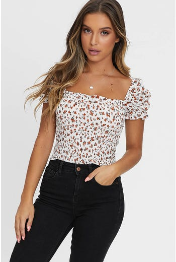 FLORAL PRINT SHIRRING CROP TOP