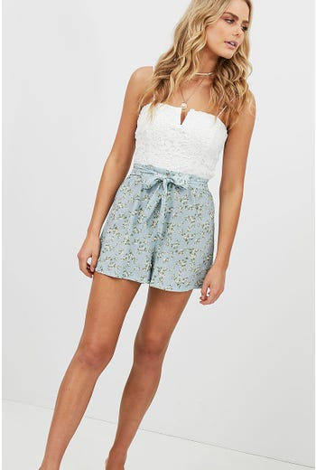 FLORAL PRINT TIE DETAIL LACE PLAYSUIT